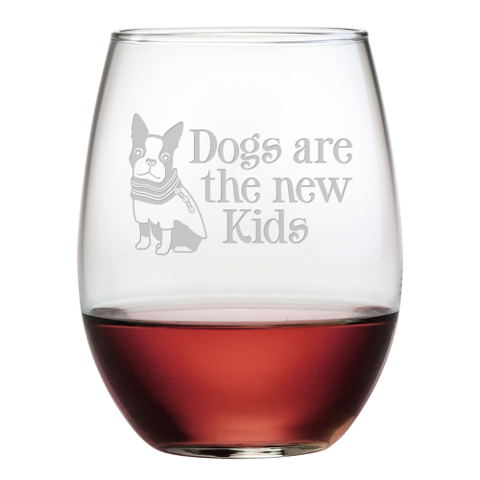 Dogs Are The New Kids Stemless Wine Glasses (set of 4)
