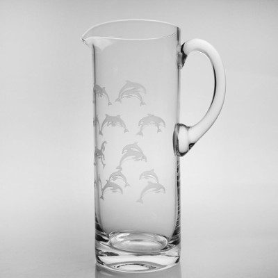 School of Dolphins Glass Pitcher