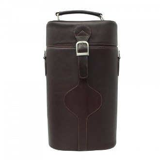Piel Leather Double Deluxe Wine Carrier, Chocolate