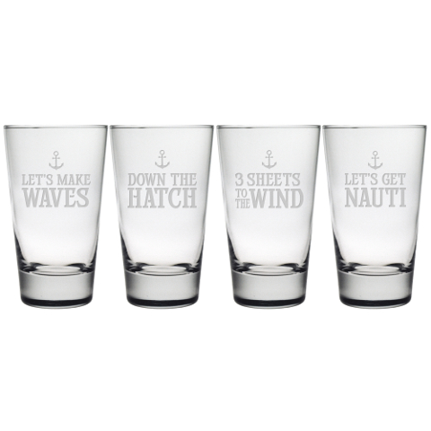 Down The Hatch Highball Glasses (set of 4)