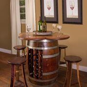 Wine Barrel Table with Wine Rack, 4 Stools and Lazy Susan