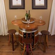 Wine Barrel Table with 28 Bottle Wine Rack & 4 Wine Stools