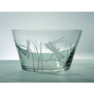 Dragonfly Clear Glass Large Bowl