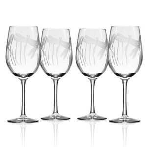 Dragonfly White Wine Glasses 12 oz Set of 4