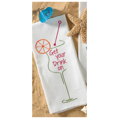 Get Your Drink On Embroidered Dishtowel