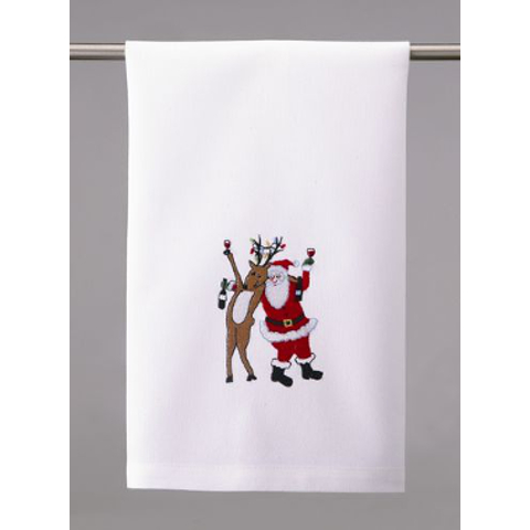 Santa and Reindeer Drinking Buddies Wine Towel