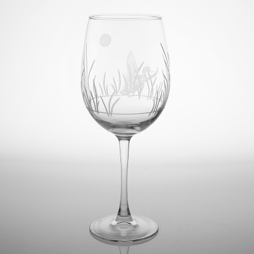 Etched Duck All Purpose Large Wine Glasses (set of 4)