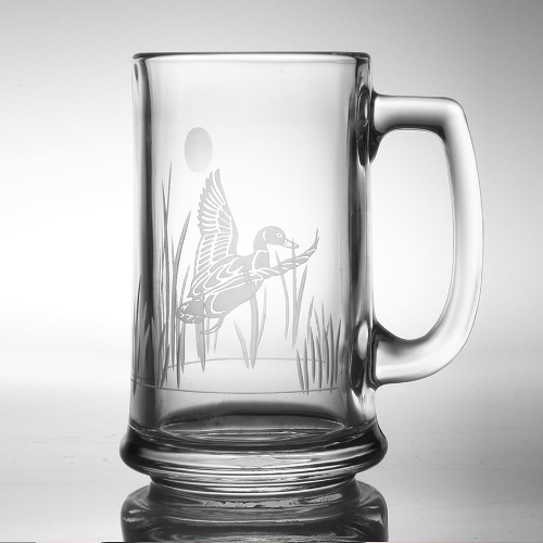 Etched Duck Beer Mugs (set of 4)