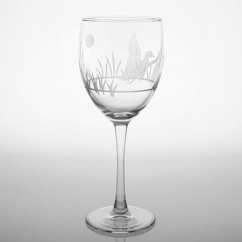 Etched Duck Wine Goblets (set of 4)