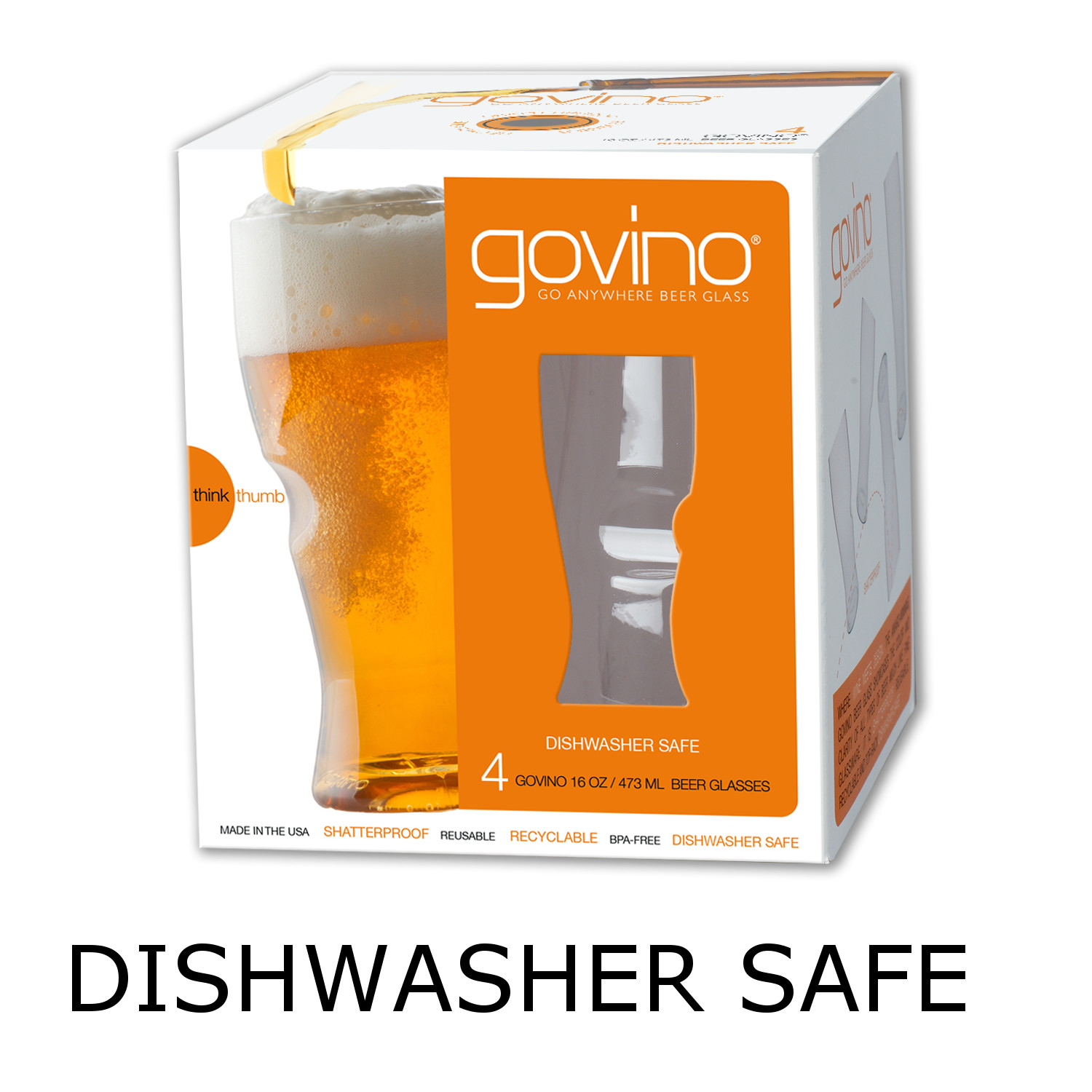 GoVino Beer Glasses Dishwasher Safe (Set of 4)