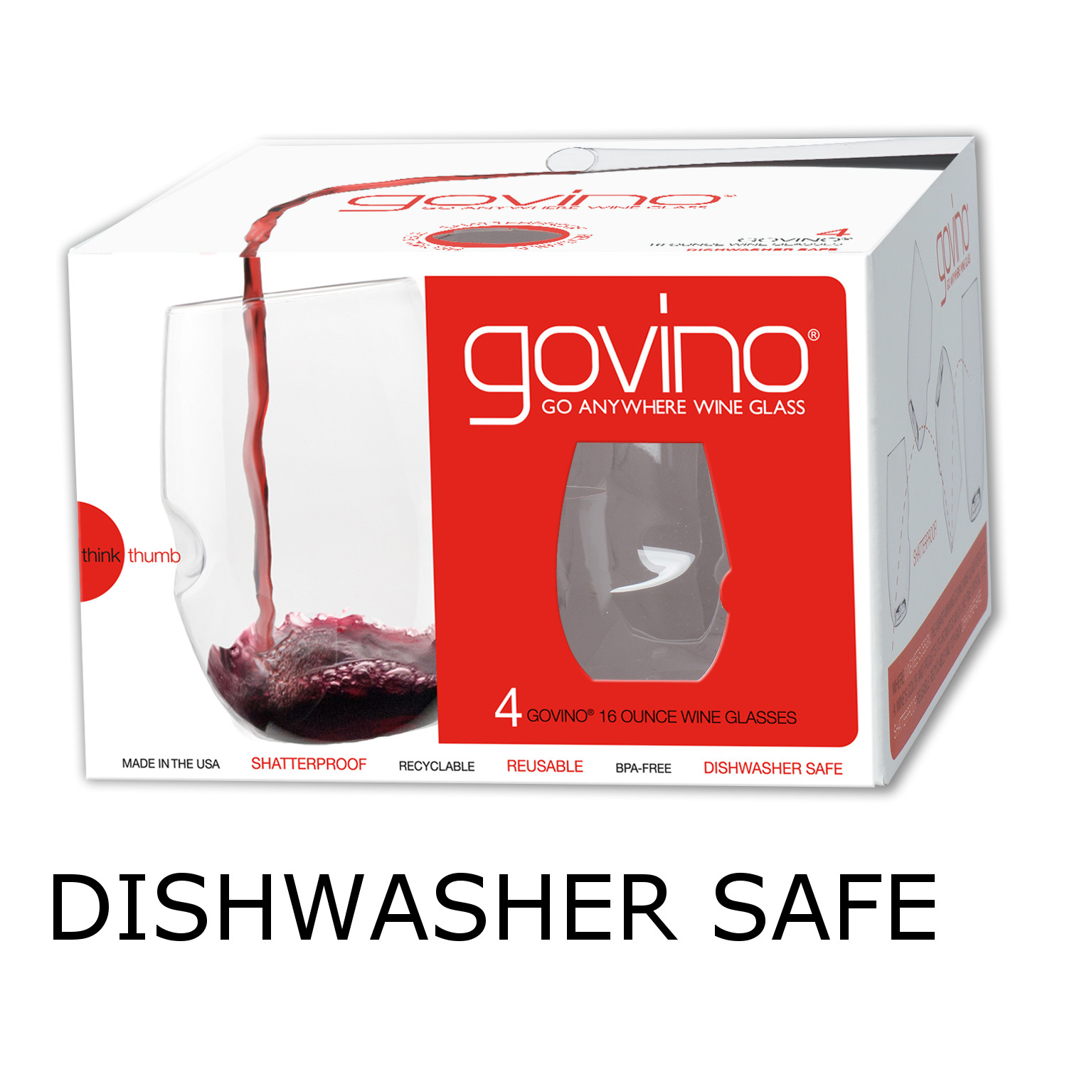 GoVino Red Wine Glasses Dishwasher Safe (Set of 4)