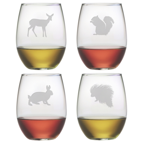 Assorted Eastern Wildlife Stemless Wine Glasses (set of 4)