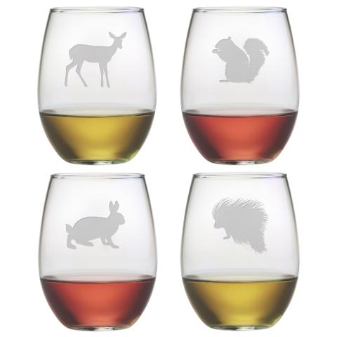 Assorted Eastern Wildlife Stemless Wine Glasses (set of 4)