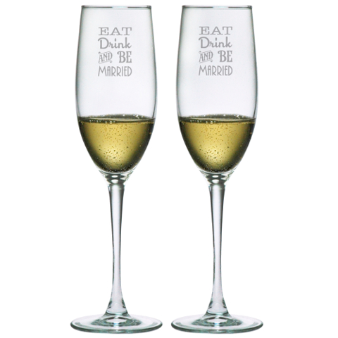 Eat Drink and Be Married Champagne Flutes (set of 2)
