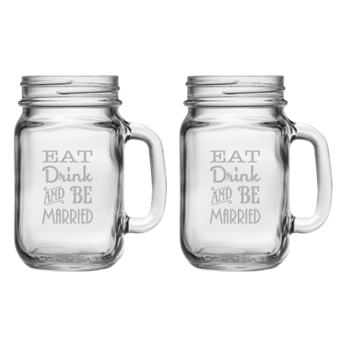 Eat Drink and Be Married Mason Jar Mugs (set of 2)