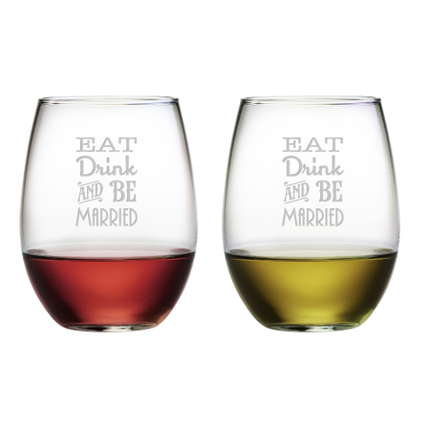 Eat Drink and Be Married Stemless Wine Glasses (set of 2)
