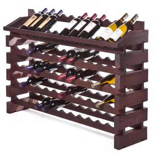 72 Bottle End Display Modular Wine Rack System - Stained