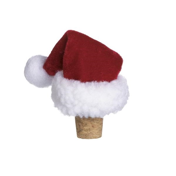 Santa Hat Holiday Wine Bottle Toppers (set of 6)