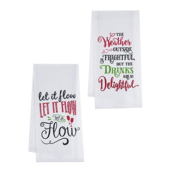 "Festive Holiday ""Let it Flow"" Guest Towels (set of 2)"