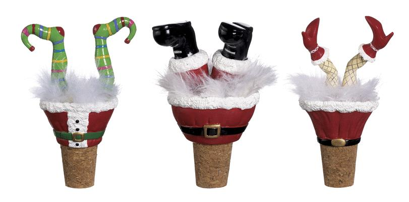 Santa and Friends Leg Wine Bottle Toppers (set of 3)