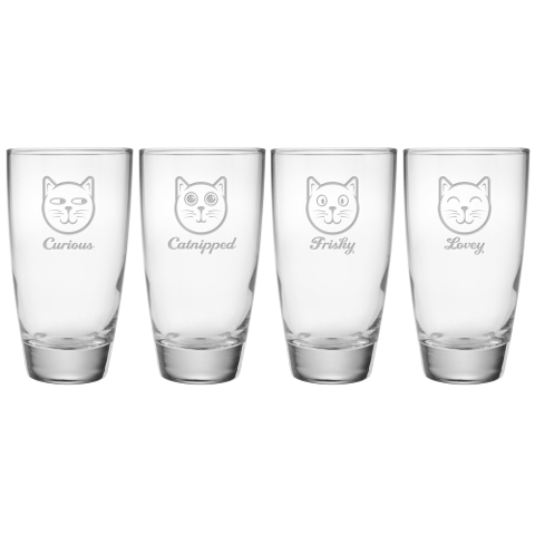 Feline Faces Cooler Glasses (set of 4)
