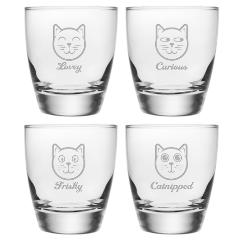 Feline Faces DOF Glasses (set of 4)