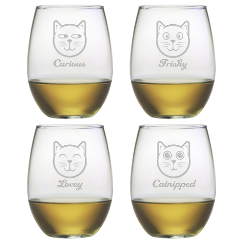 Feline Faces Stemless Wine Glasses (set of 4)