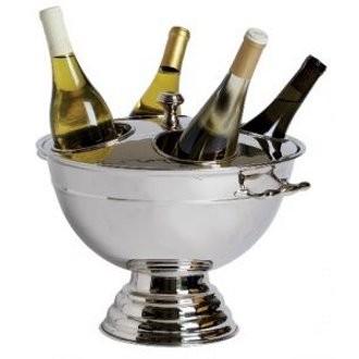 Festive Four-Bottle Stainless Steel Wine Cooler with Heavy Duty Lid