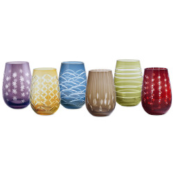 Fiesta Stemless Wine Glasses Set of 6
