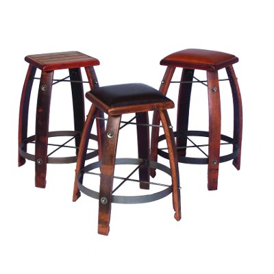 Wine Stave Stool with Leather Top 32 Inch Tan