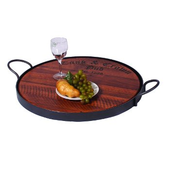 Round Wooden Serving Tray with Iron Handles