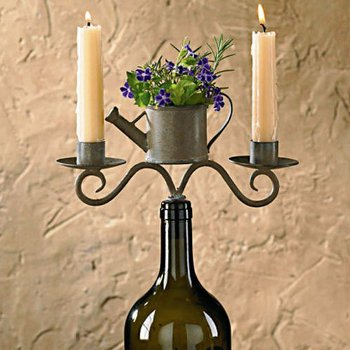 Gardener's Wine Bottle Candelabra