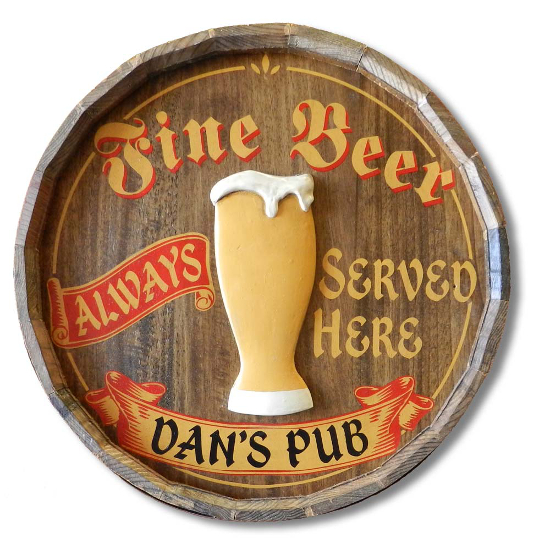 Fine Beer Personalized Quarter Barrel Sign