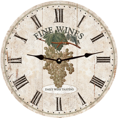 Personalized Fine Wines Clock with White Grapes