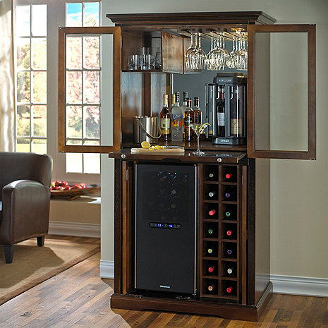 Firenze Wine and Sprits Armoire Bar with 32 Bottle Touchscreen Wine Refrigerator