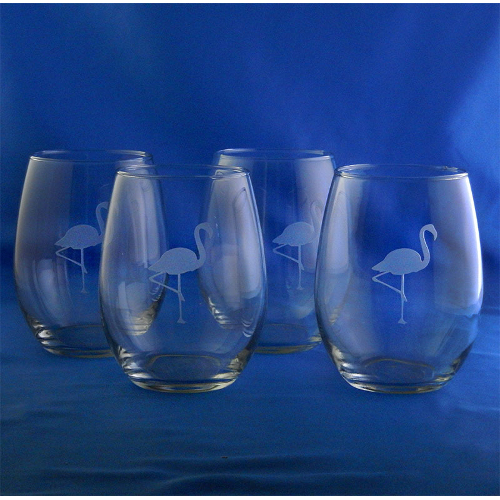 Etched Flamingo Stemless Wine Glasses (set of 4)