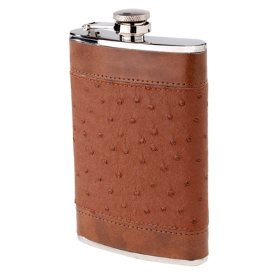 8oz. Brown Ostrich Hip Flask with Band