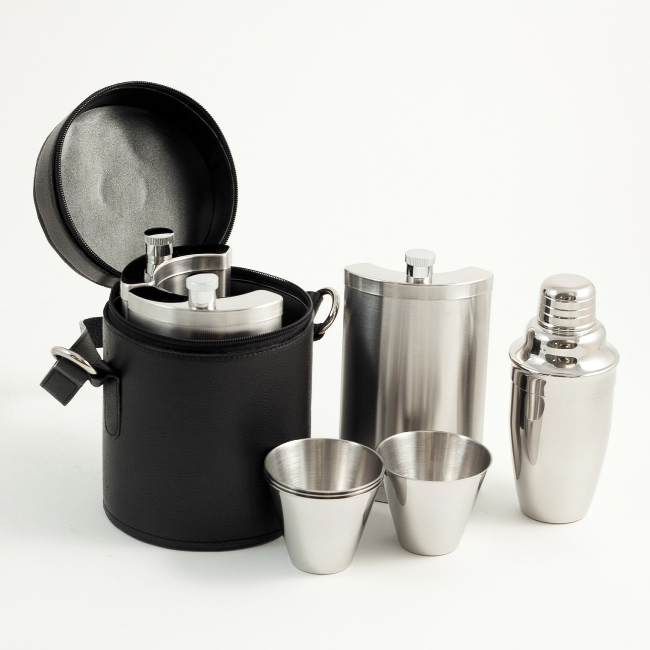10 Piece Stainless Steel Cocktail Travel Bar Set in Leather Case