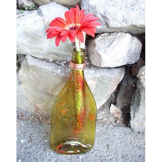 Flattened Wine Bottle Vase, Large