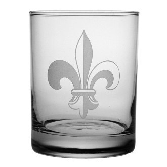 Fleur De Lis On The Rocks Glasses (set of 4)