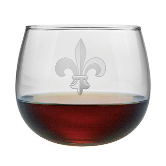 Fleur De Lis Stemless Red Wine Glass Set