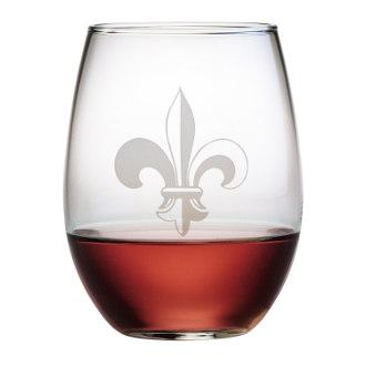 Fleur De Lis Stemless Wine Glass Set