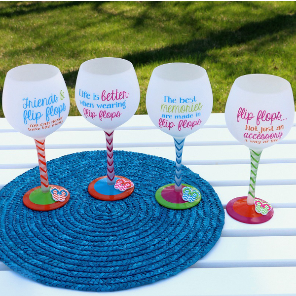 Hand Painted Flip Flop Sayings Wine Glasses