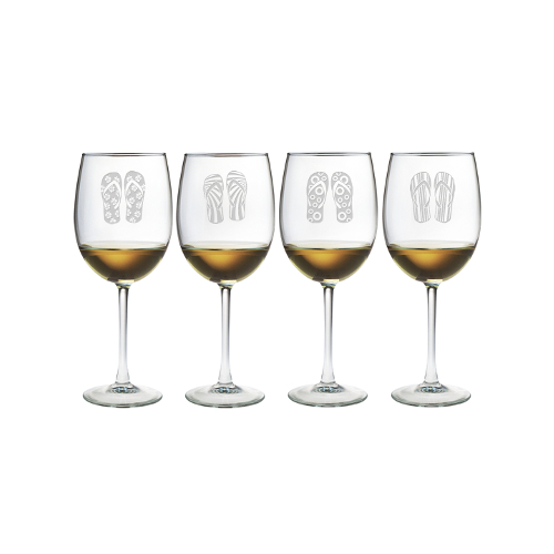 Flip Flops Etched Stemmed Wine Glasses (set of 4)