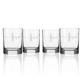 Fly Fishing Double Old Fashioned Glasses (set of 4)