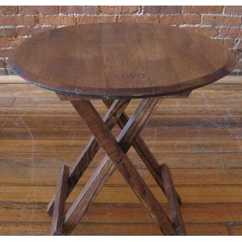 Folding Genuine Oak Barrel Head Side Table