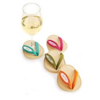 Framed Rattan Flip Flop Coasters