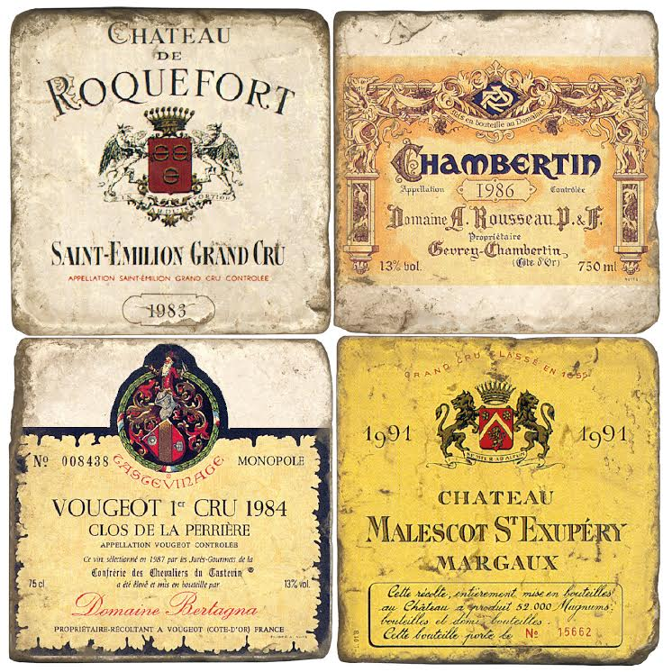 French Wine Label Coasters (set of 4)