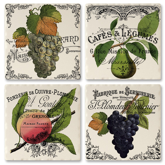 French Grape and Fruit Labels Ceramic Tile Coasters (set of 4)