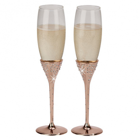 "Galaxy Rose Gold Flutes, Pair 10.5"" H"